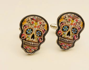 Day of the Dead Cuffl Links, Skull Cuff Links, Skeleton Cuff Links, Día de Muertos, Gifts for Him, Boyfriend Gift, Holiday Gift