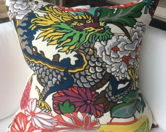 Schumacher Pillow Cover in Chiang Mai  Dragon Alabaster  Linen,  Dragon Face