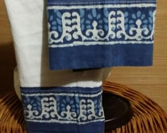 2 pc. set of  white/blue  vintage pillow cases, with edged hem designs, 100% cotton