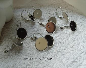 BOUCLES D'OREILLES PLAREAUX dormeuses 2.5 cm  supports pour cabochons et camées  1 ,4 cm lot de 4 paires de boucles