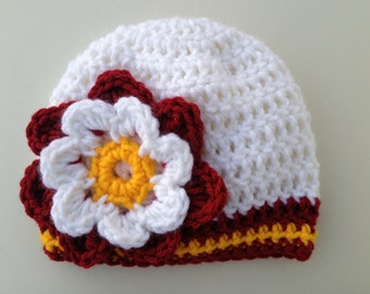 USC Trojans Football Hat, Baby Hat, Girl Hat, Baby Girl Beanie, Newborn Crochet Hat, Baby Football Hat, Baby Shower Gift (Choose Team)