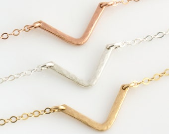 Chevron Necklace, V Shaped Necklace, Hammered V Necklace, Gold Arrow Necklace, Layering Necklace, Gold, Silver, Rose Gold Gift for Her