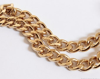 Heavy Gold Chain - Chunky Chain Gold Finished Steel - 7mm Wide Flat Curb Chain - Bulk Chain by the Foot - Gold Plated - Ships FAST from USA