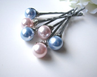 Cotton Candy Hair Pin Pearl Set, Pink and Blue Swarovski
