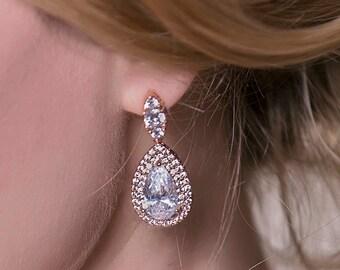 Wedding Jewelry Rose Gold Earrings Teardrop Earrings Bridal Accessories Crystal Earrings Rose Gold Jewelry Drop Earrings E196-RG