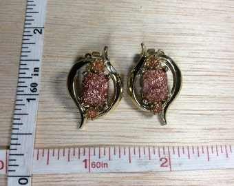 Vintage Clip On Earrings Imitation Gold Stone Used