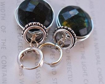 earrings, labradorite earrings, sterling silver earrings, green labradorite earrings, bohemian earrings, boho chic earrings, wire wrapped