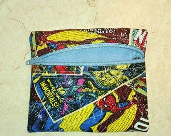 Marvel comics zip coin purse
