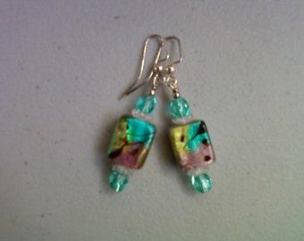 Aqua, Mauve and Lime Green Earrings (0129)