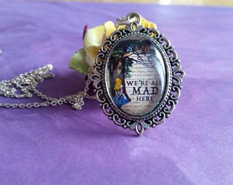 Alice in Wonderland necklace, we're all mad here necklace, cabochon necklace