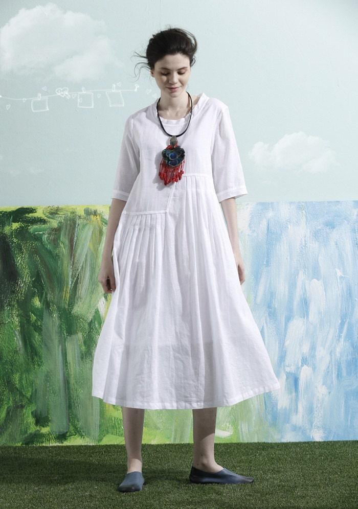 White Linen Dress Long Linen Dress Wedding Dress Beach
