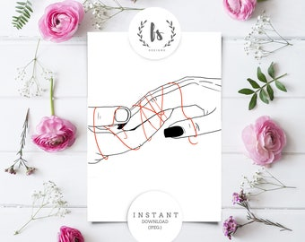 Minimalistic Card Valentines Day | Printable Instant Download | Printable Love Decor | Tied Together Artwork