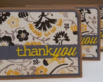 Thank You cards (set of 3) - gray/yellow/black/cream floral (blank inside) CraftNinjaStudios