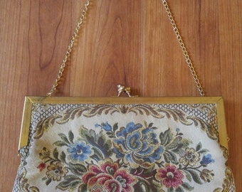 70s Tapestry shoulder bag with metal chain strap
