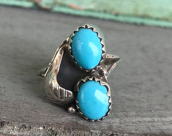 Size 4.25 Sterling Silver Turquoise Composite Southwest Statement Ring 2g