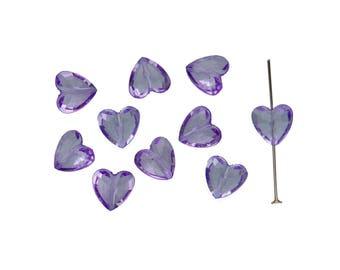 Pack of 10 translucent purple acrylic heart 12 5x12x8mm