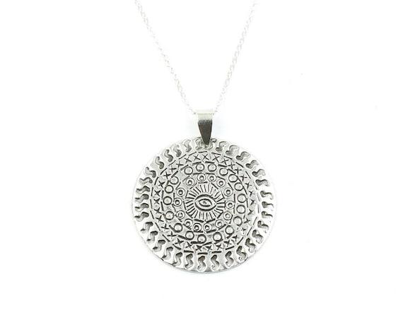 Sterling Silver Elvara Eye Necklace, Evil Eye, Yoga Jewelry, Meditation, Spiritual, Boho, Gypsy, Festival, Hippie
