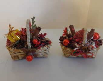 vintage christmas baskets filled with pinecones cinnamon sticks christmas decorations tiny christmas baskets - Christmas Basket Decorations