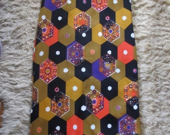 Maxi Dress - 60's 70's - Mod Geometric Bright pattern print - Union Made - Medium Large - Boxy long - Side Slits Sleeveless Groovy Retro