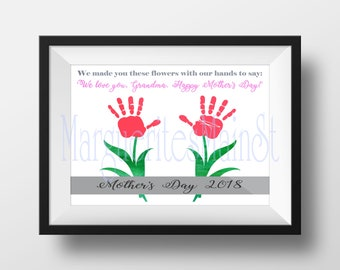 DIY - 2018 - Mother's Day Gift For Grandma from Kids - INSTANT Download Mothers Day Printable - Handprint Art - Watercolor Art