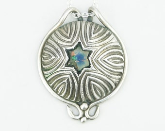 Star of David Fine Silver and Dichroic Glass Pendant necklace