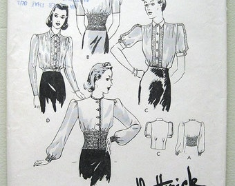Vintage 40s Blouse Pattern Puff Sleeves, High Shirred Waist. Butterick 8535 Bust 34""