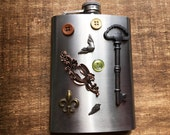 Steampunk Feminine Flask Victorian Escutcheon / Winged Heart / Fleur de Lis / Skeleton Key / Absinthe Green Button / Angel Wing Altered Art