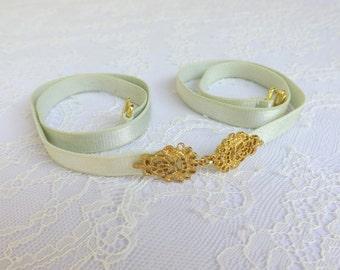Mint green elastic waist belt. Gold filigree buckle. Skinny Dress belt. Bridal/ Bridesmaid belt.