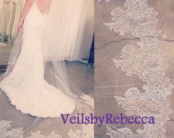 1 tier cathedral veil with lace bottom,ivory chapel partial lace veil,Chantilly lace tulle cathedral veil,lace bottom veil V612