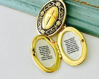 St. Francis Prayer Locket, Saint Francis Pendant, Make Me an Instrument of Your Peace, Peace Prayer