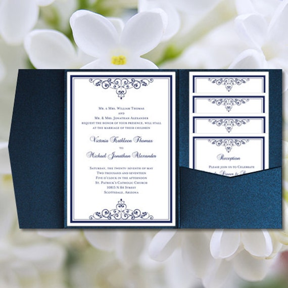 Homemade Wedding Invitation Template: DIY Pocketfold Wedding Invitations Vintage Navy