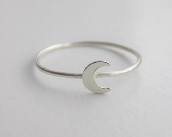 Moon ring - sterling silver - crescent moon ring - tiny moon ring - delicate moon ring - stackable ring - dainty jewelry - minimal moon ring