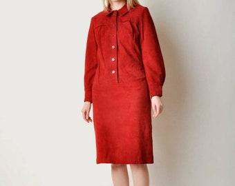 ON SALE - Vintage Red Suede Dress