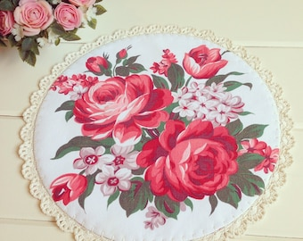 pretty vintage roses doily-made to order