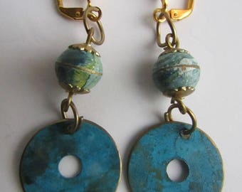 Vintage Upcycled Brutalist Enamel Turquoise Marbleized on Copper with GP Leverback Earrings