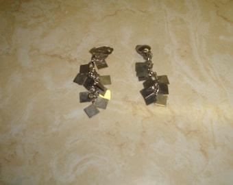 vintage clip on earrings silvertone square dangles