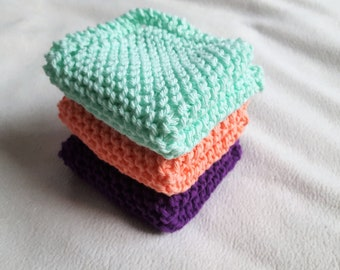 Knitted Wash Cloths, Knit Dish Cloth Set of 3, Purple Coral Mint