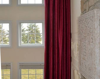 Extra Long  blackout VELVET/CHENELLE curtain wide drape 13 14 15 16 17 18 feet Brown Green Gray Wine Beige custom made 2 story Free Swatches