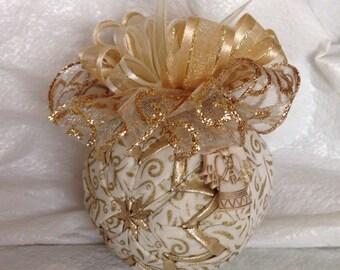 Golden Christmas Angel Quilted Star Christmas Ornament Hostess Gift Teacher Gift