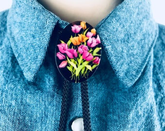 Bouquet of Tulips Bolo Tie with Black Cord and Silver Tips
