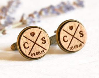 Cufflinks for Groom, Cufflinks Personalised, Cufflinks Personalized, Custom Cufflinks, Walnut Wood Cufflinks, Engraved Wedding Cufflinks