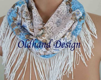 Handmade Floral Lace Infinity Scarf with White Fringes, Fringed Lace Festival Scarf