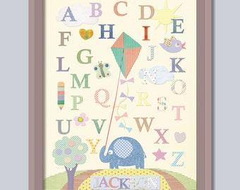 Nursery Alphabet ABC  Nursery Colage Letters  Baby Elephant kite Personalized Art ABC Alphabet  Baby room Wall Art 8x10 inch