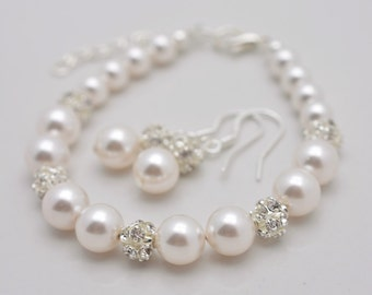 Pearl Bridal Set, Bracelet and Earring Set, Pearl and Rhinestone Bracelet and Earrings, Pearl Bridal Bracelet, Bridesmaid Pearl Set 0348