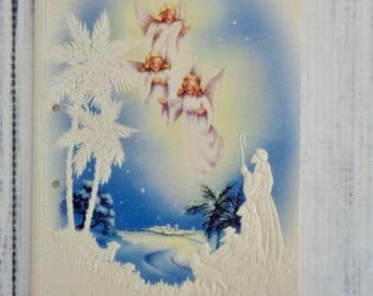 Vintage Christmas Card, 1960's Religious Theme Christmas Card With Shepherds Angels, Unused, Great for Retro Christmas Card Garland, Unused