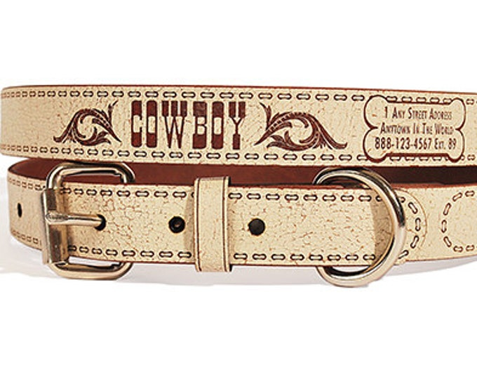 Personalized Leather ID Dog Collar, Large Size, Western Design, Name & Contact Info Engraved FREE