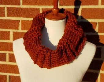 Burnt Orange Knit Cowl