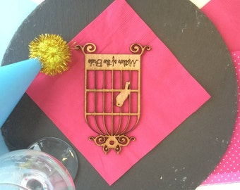 Wooden Birdcage Place Name Wedding Table Place Setting Personalised