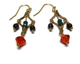 Czech crystal, blue sandstone and crystal glass earrings / Dainty earrings / Eye-catching earrings / Sweet dreams earrings / Lovely earrings