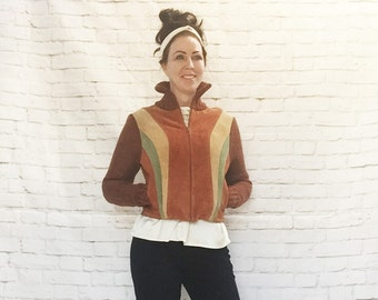 Vintage 70s Patchwork Suede Sweater Knit Jacket Rainbow Stripes M L Brown Tan Green